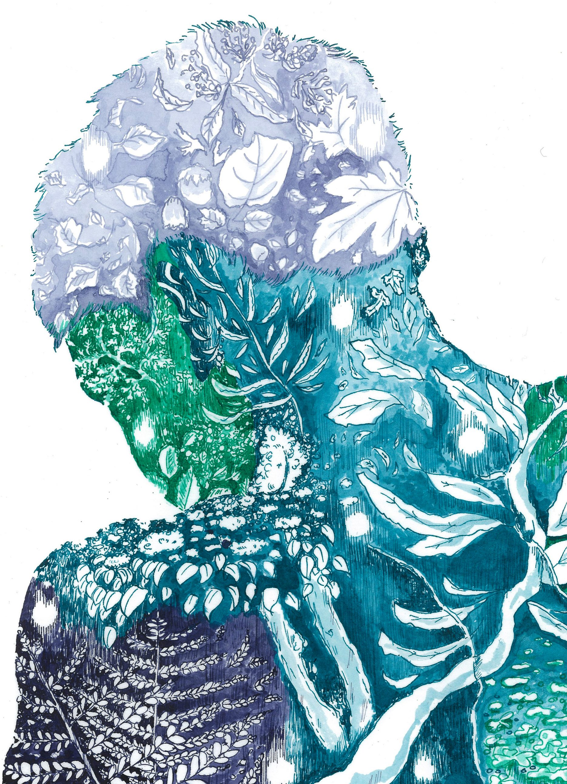 Illustration in colors of greens and blues, seeing a shape of a torso and face filled with plants