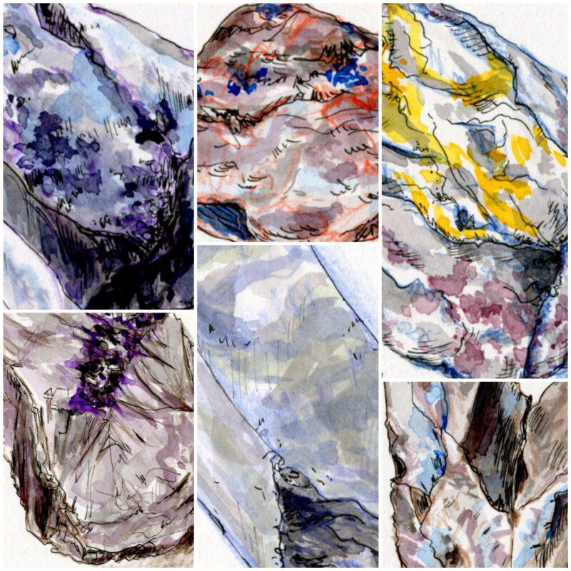 Collage of 6 drawn stones